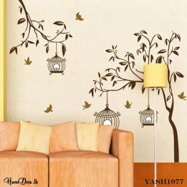Brown Bird Cage Wall Sticker - YASH1077
