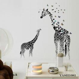 Black Two Giraffe Wall Sticker - YASH1081