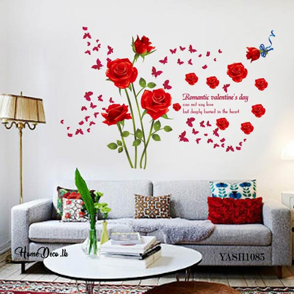 Red Rose Flower Wall Sticker - YASH1085