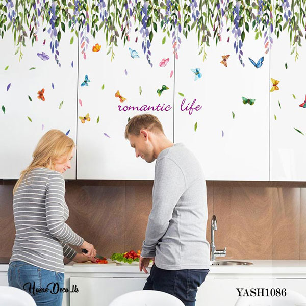 Leaves and Butterfly Sticker - YASH1086