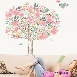 Pink Flower Tree Wall Sticker - YASH1088