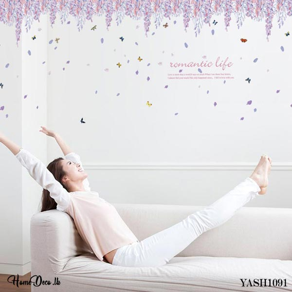 Purple Flower Wall Sticker - YASH1091