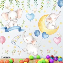 Baby Elephants Wall Sticker - YASH1094