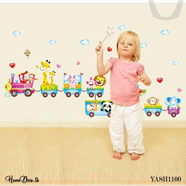 Zoo Animal Train Kids Wall Sticker - YASH1100
