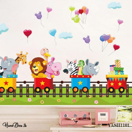 Animal Train Kids Wall Sticker - YASH1101