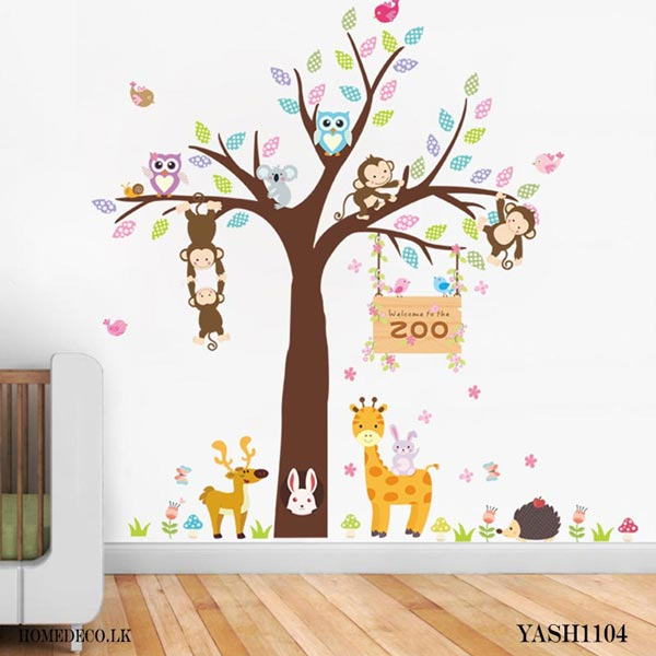 Zoo Animal and Tree Wall Sticker - YASH1104
