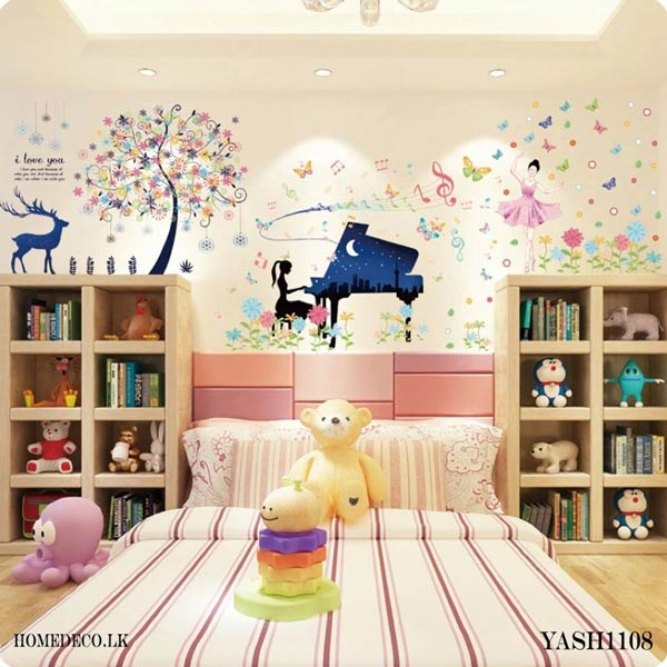 Piano Play Girl Wall Sticker Decoration - YASH1108