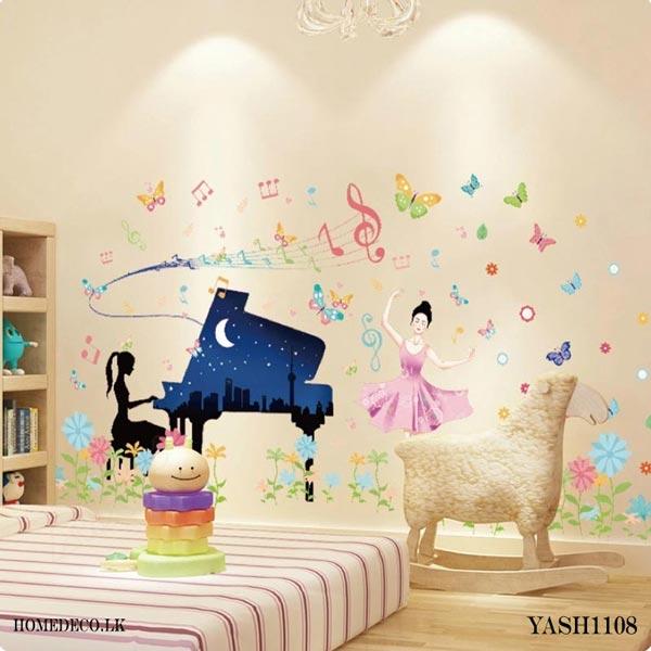 Piano Play Girl Wall Sticker - YASH1108