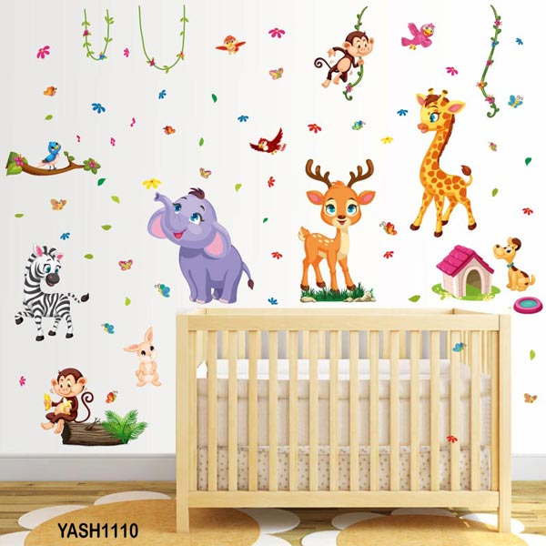 Cute Zoo Animal Baby Wall Sticker - YASH1110