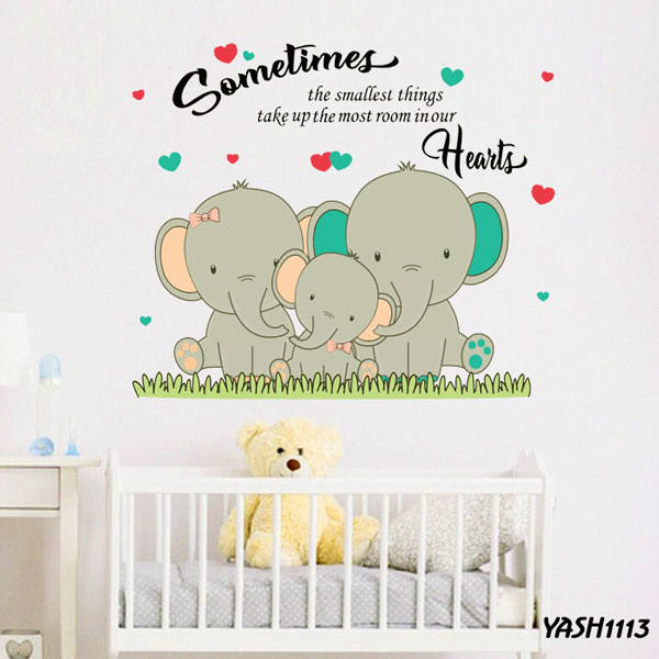 Elephant Family Wall  Sticker - YASH1113