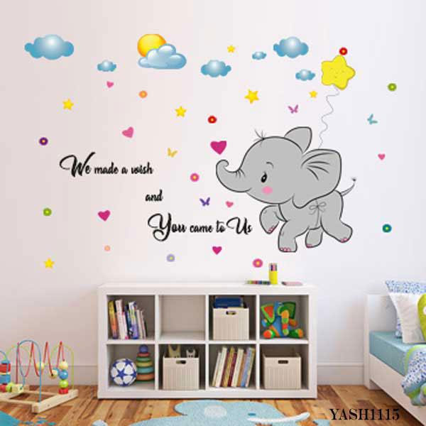 Baby Elephant Fly Wall Sticker- YASH1115