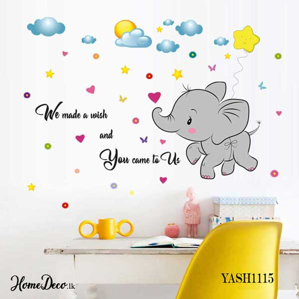 Baby Elephant Fly Kids Wall Sticker - YASH1115
