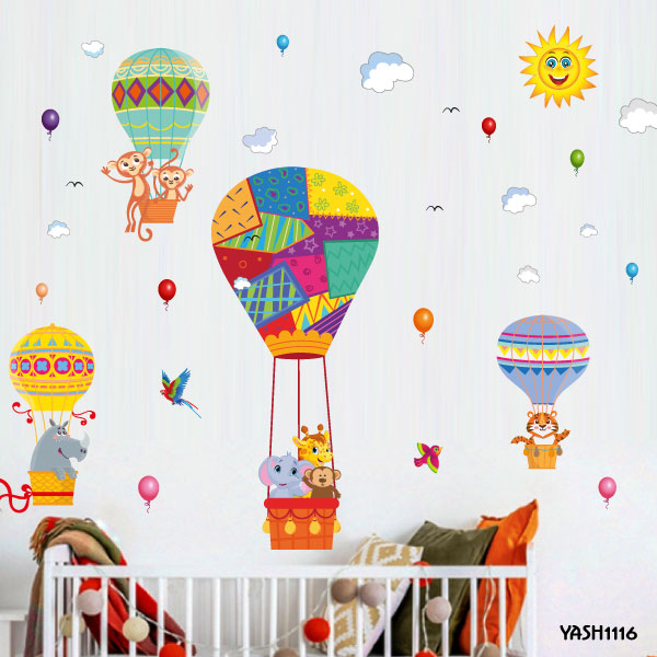 Baby Animal Hot Air Balloon Wall Sticker - YASH1116