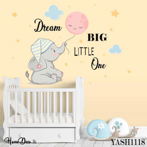Dream Big Baby Elephant Wall Sticker - YASH1118