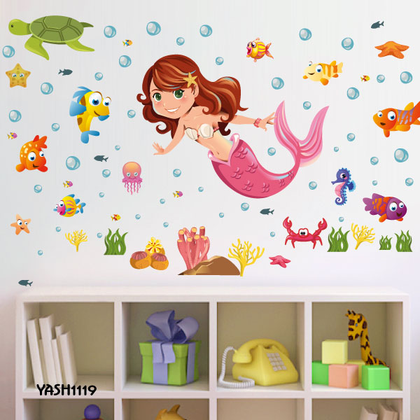 Cute Mermaid Kids Wall Sticker - YASH1119