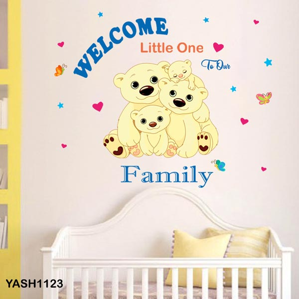 Cute Bear Family Baby Wall Sticker - YASH1123