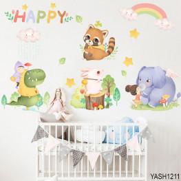 Happy Animals Kids Wall Sticker - YASH1211
