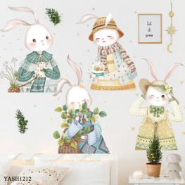 Cute Village Rabbits Wall Sticker - YASH1212