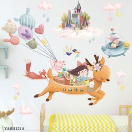 Flying Dear Kids Wall Sticker - YASH1214