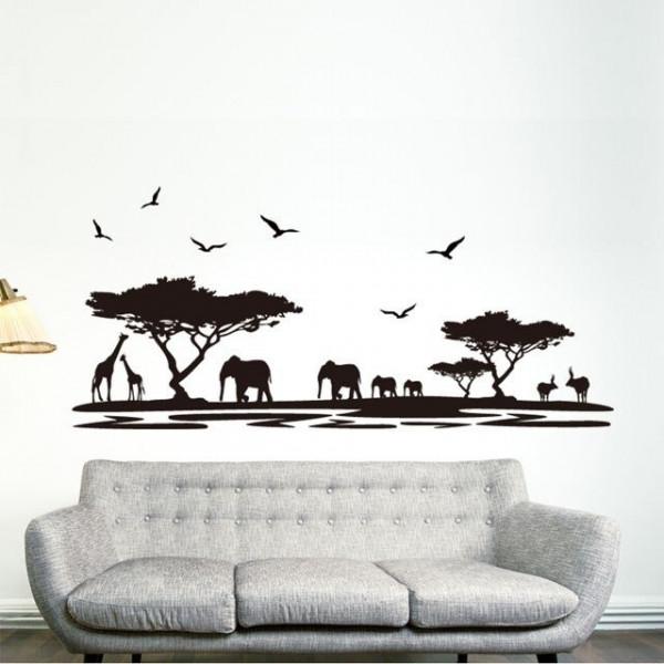 Black Safari Animal Wall Sticker - YASH1217