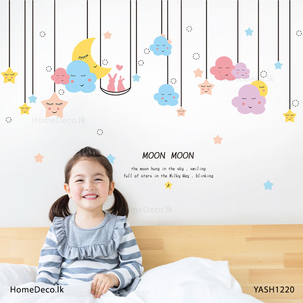 Moon with Stars Baby Wall Sticker - YASH1220