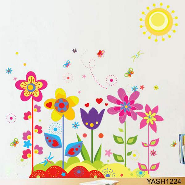 Baby Smiling Flowers Wall Stickers - YASH1224