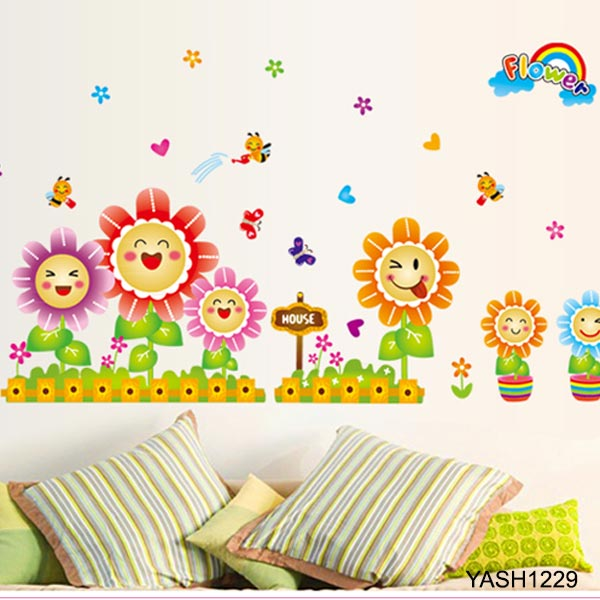 Smiling Flowers Baby Wall Sticker - YASH1229