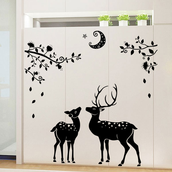 Two Black Deer Wall Sticker - YASH191