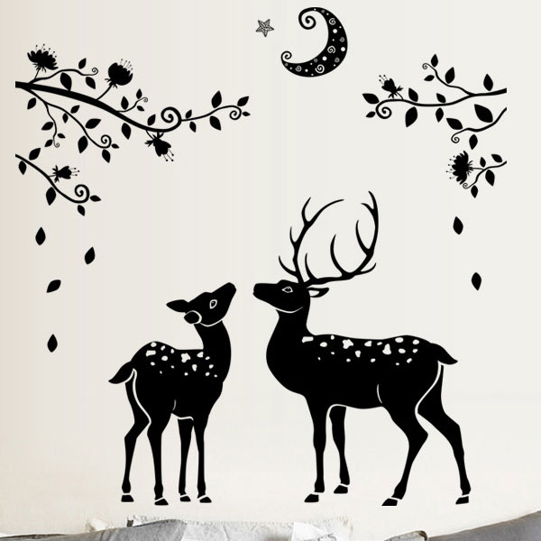 Two Black Deer Wall Sticker - YASH191