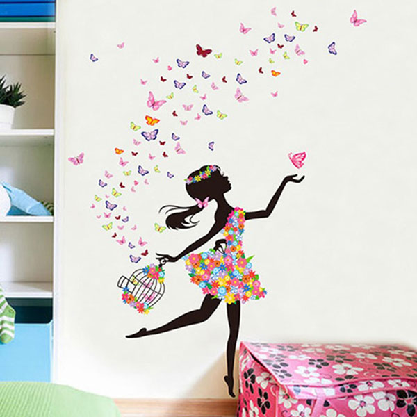 Pink Butterfly Girl Wall Sticker - YASH235
