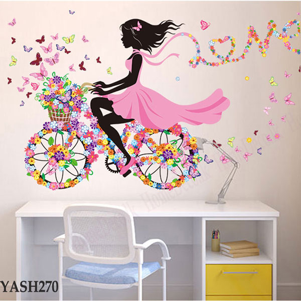 Bicycle Riding Girl Wall Sticker - YASH270