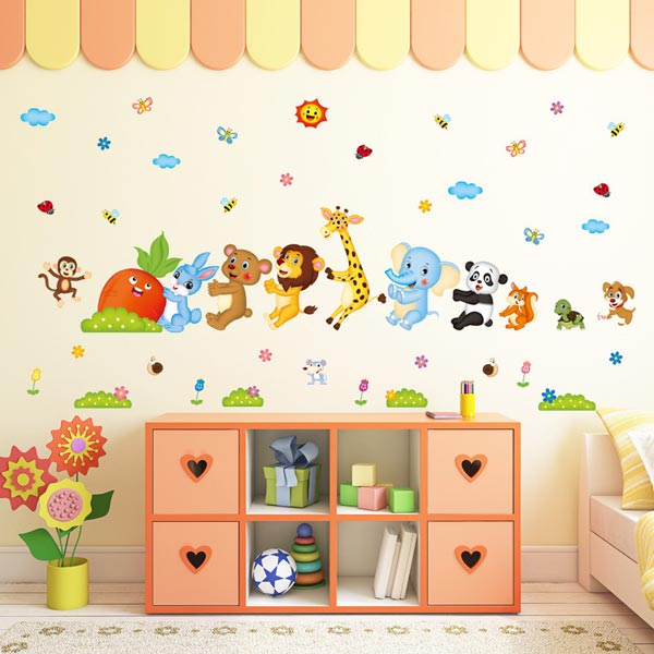 Baby Animal Queue Wall Sticker - YASH602