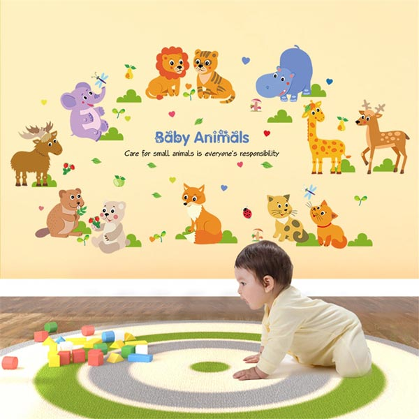Cute Baby Animals Kids Wall Sticker - YASH654