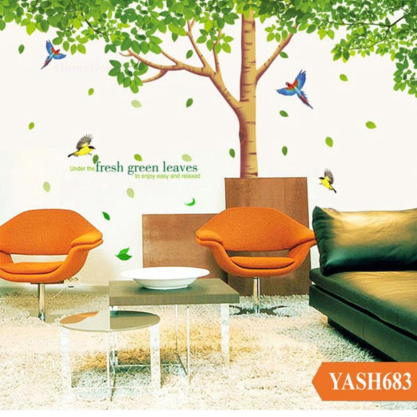 Tree With Green Leaves Wall Sticker - YASH683