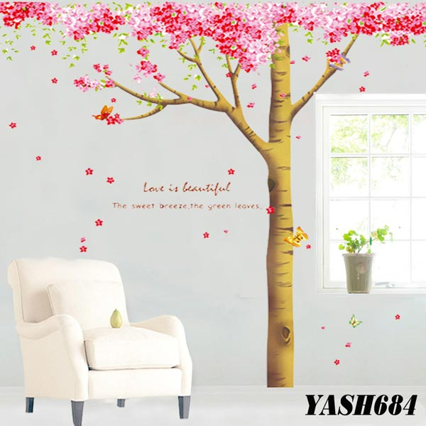 Pink Blossom Trees Wall Sticker - YASH684