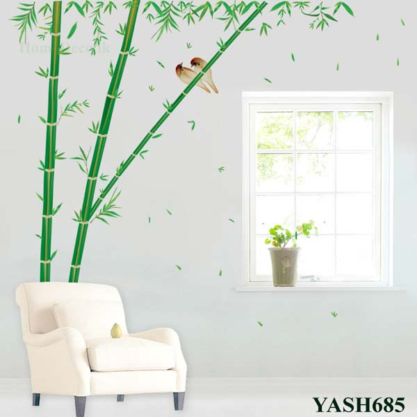 Bamboo Trees With Birds Wall Sticker - YASH685