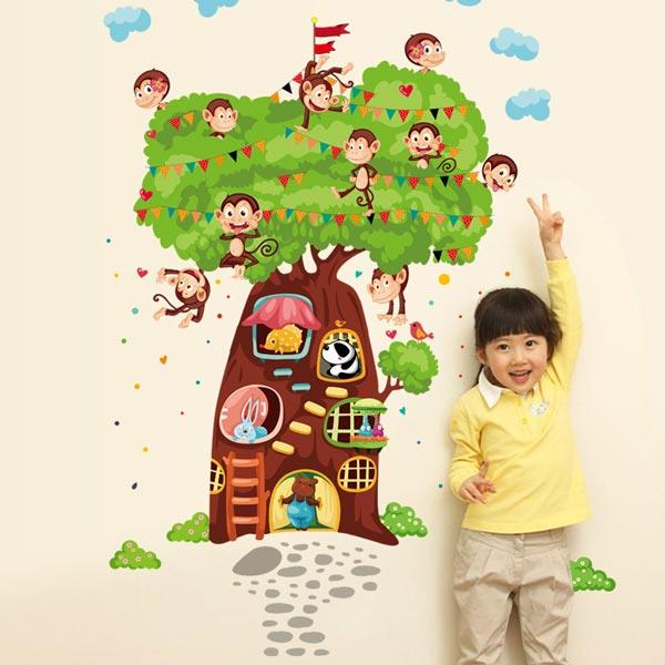 Tree House With Monkey Wall Sticker - YASH686