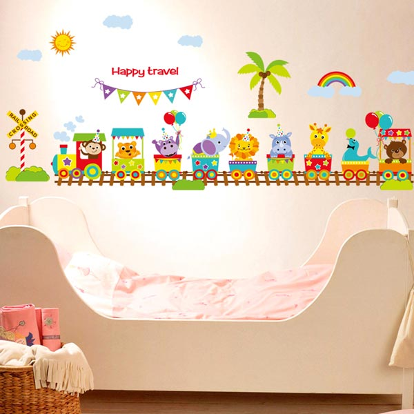 Animal Train Kids Wall Sticker - YASH691