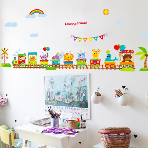 Animal Train Kids Wall Sticker - YASH691