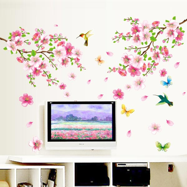 Pink Blossom Flowers Wall Sticker - YASH693