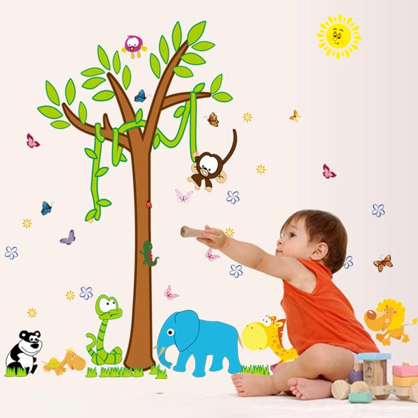Animals and Tree Wall Sticker - YASH696