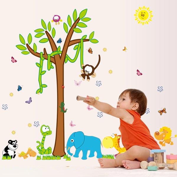 Animals and Tree Wall Sticker - YASH696