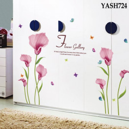 Pink Lilly Flowers Wall Sticker - YASH724