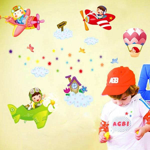 Aeroplane Kids Wall Sticker - YASH756