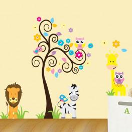 Tree With Animal Wall Sticker - YASH758