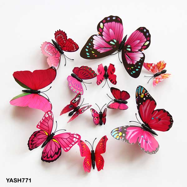 Pink 3D PVC Butterfly Pack - YASH771