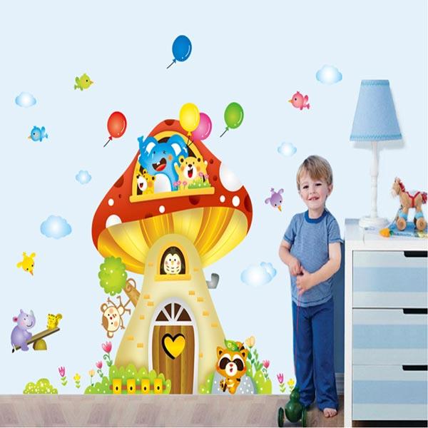Kids Mushroom House Wall Sticker - YASH779