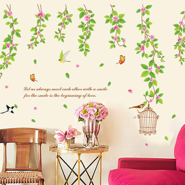 Vines with Flowers Wall Sticker - YASH783