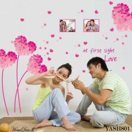Pink Heart Flower Wall Sticker - YASH801