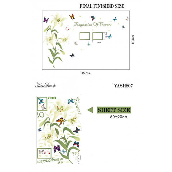 White Lilly Flower Wall Sticker - YASH807